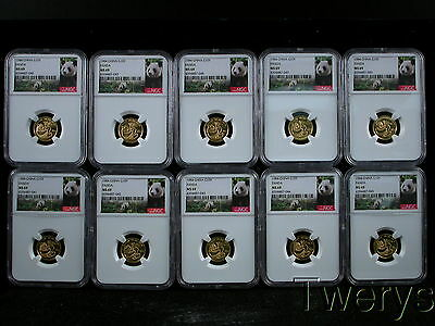 Lot Of 10 Pieces 1984 China Gold Panda 10 Yuan Ngc Ms 69