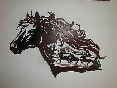Metal Horse Head Wall Sculpture/Silhouette With Running Horses(-Folds In Half)
