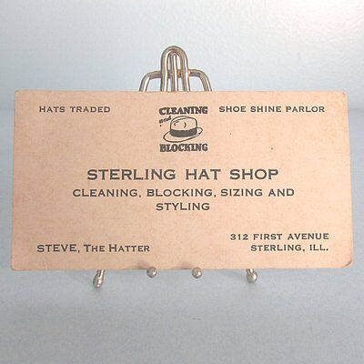 BUSINESS CARD Men HAT Shop Shoe Shine Sterling Illinois Steve the Hatter Vintage