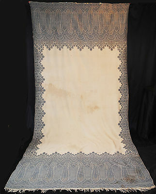 "ANTIQUE PAISLEY SHAWL 1870's ENGLISH KIRKING SHAWL LONG  - 131"" x 60"""