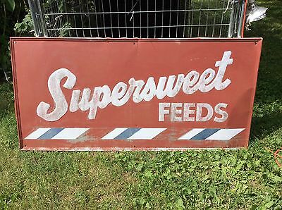 """(70"""" x 33.75"""") Vintage Original Supersweet Feeds Tin Sign- Now Offering Shipping"""