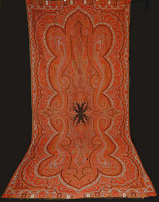 """ANTIQUE PAISLEY SHAWL 1860's INDIA LOOMED WOOL BLACK CENTER  131"""" x 59"""""""