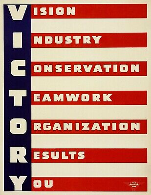 VICTORY World War 2 Giclee Fine Art Poster Reproduction 24x32
