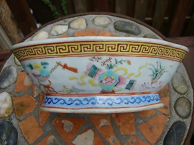 Chinese Famille Rose Footed Pedestal  Dish Bowl Signed