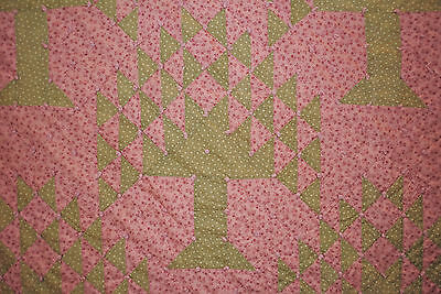 """ANTIQUE QUILT c1880's TIED TREE OF LIFE PATCHWORK COTTON 81"""" x 76"""""""