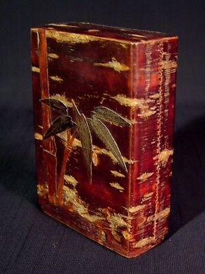 Mid Century Japan Cherry Bark Sakura Wrap Craft Fancy Cigarette Box Case Holder