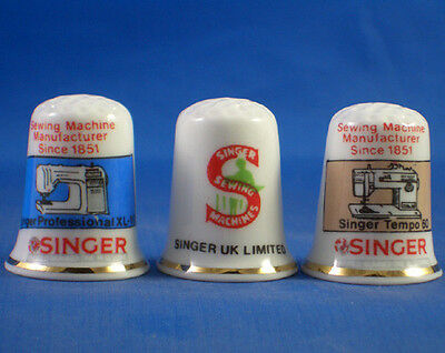 Fine Porcelain China Thimbles - Set Of Three Singer Sewing