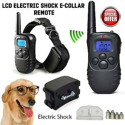 Electric Shock Vibrate Anti-Bark Collar Pet Dog Training Remote Control Batte...