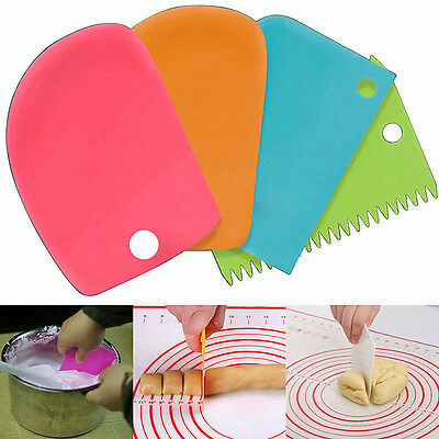 3Pcs Plastic Icing Dough Fondant Scraper Cake Decorating Baking Pastry Tools