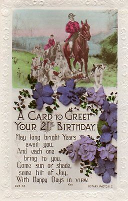 VINTAGE ROTARY 21st BIRTHDAY GREETING postcard of HUNTING HORSES & HOUNDS