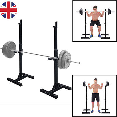 2pcs Heavy Duty Gym Squat Barbell Power Rack Stand Detachable Press Weight Bench