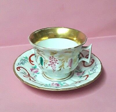 Tasse Restauration En Porcelaine De Paris Decor Floral Peint  Main