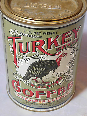 ANTIQUE TURKEY BRAND COFFEE CAN by A.J. KASPER COMPANY CHICAGO ILL.