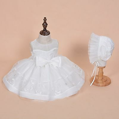 Cinda Baby Girls Ivory Lace Party Christening Dress with Bonnet 3-6 Months
