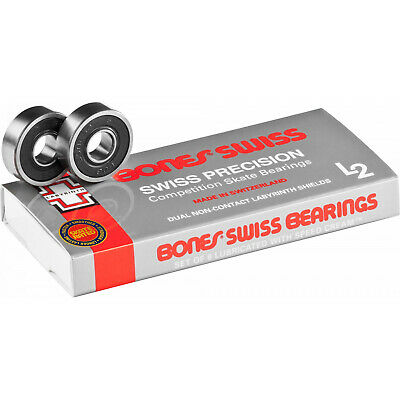 BONES SWISS LABYRINTH L2 Skateboard Bearings 8-Pack 8mm Precision Competition
