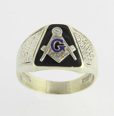 Vintage Master Mason Ring - 10k & 18k White Gold Band Masonic c.1933 Masonry