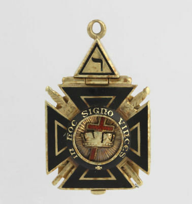 Tri Fold Masonic Fob Vintage Scottish York Rite - 14k Yellow Gold Masons