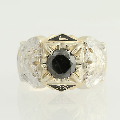 Scottish Rite Black Diamond Ring - 14k Yellow & White Gold Masonic 2.19ct