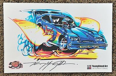 50Th Kenny Youngblood Signed Jungle Jim Nitro Funny Car Dragster Cartoon Print