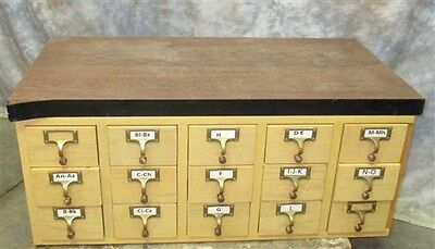 15 Drawer File Cabinet Organizer Vintage Library Card Courthouse Arts Crafts