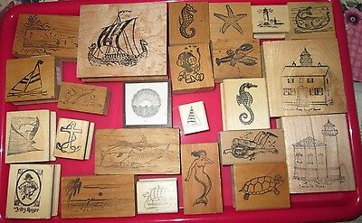 Seashore Lighthouses Fish Ships Aquatic Rubber stamps