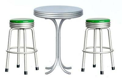 MINIATURE DOLLHOUSE 1:12 SCALE DINER 1950s RETRO TALL TABLE W/GREEN STOOLS T5903
