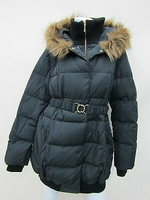 Momo Maternity Women's Black Hoodie Down Coat Jacket Size L NWT