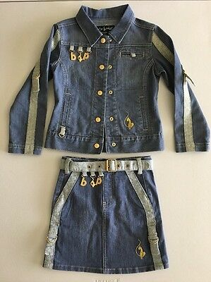 Adorable! Baby Phat Girls  Denim Jean 2Pc Skirt / Jacket Outfit Size 5 & 5-6