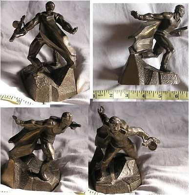 Vintage Statue DEFENDER OF THE MOTHERLAND bronze brass man Russia soldier 2785