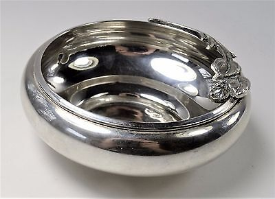 Silver Pin or Candy Bowl with Maker Unknown - Rose Detailed Rim - NM