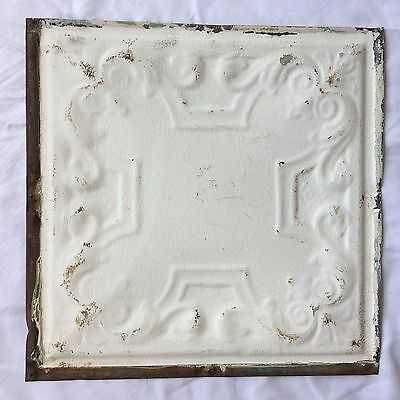 "1890's 12"" x 12"" Antique Tin Ceiling Tile Reclaimed  298-17 White  Anniversary"