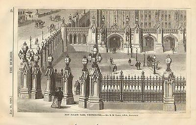 New Palace Yard, Westminster, Vintage 1868 English Antique Art Print