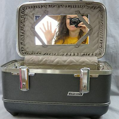 Vtg American Tourister Grey Tri-Taper Travel Makeup Case Carry On Luggage Mirror