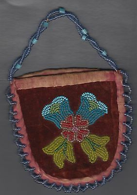 1800s NATIVE AMERICAN BEAD WORK PURSE POUCH ? genuine old item vgc hand stitched