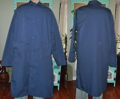 "Dickson Unisex Butcher Coat Frock two bottom pockets Navy 45"" Length Sz Medium"