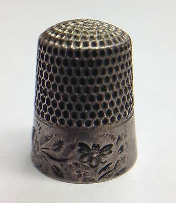 Flower Design Thimble Vintage Sterling Silver Sewing Thumb / Finger Guard