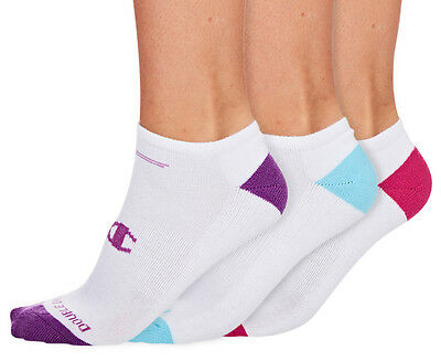 Champion Women's Size US 6-10 Low Cut Sock 3-Pack - Sky Blue/Purple/Pink