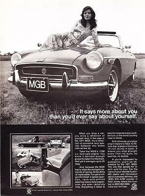 """1971 MG MGB Convertible photo """"Says More About You"""" promo print ad"""