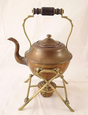 Antique William Soutter & Sons Brass Spirit Kettle W/ Twig Stand & Burner