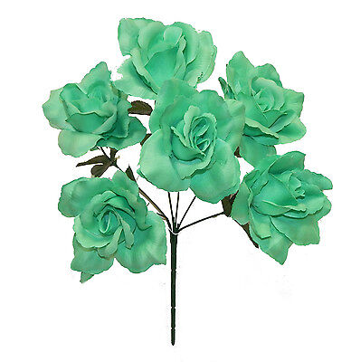 6 OPEN ROSES ~ MINT GREEN  Soft Touch Silk Wedding Flowers Bouquets Bridal Decor
