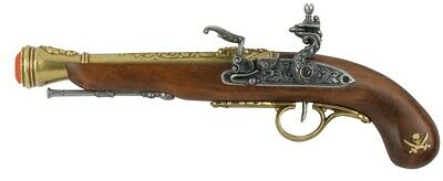Denix Left-Handed Pirate Flintlock Blunderbuss Replica - Brass Finish