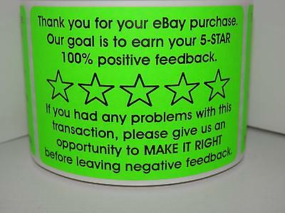 Thank You for your eBay Purchase/FB 2x3 sticker label fluorescent green 250/rl