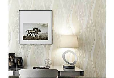 3D brushed curve wave Beige wallpaper modern textured wall paper roll 10M