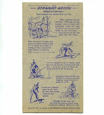 "NABISCO:  ""STRAIGHT  ARROW INJUN-UITIES""  ***SERIES #1***   CARD No. 24"