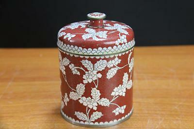 Fine Antique Chinese Cloisonne Tea Caddy with Silver wire and Flora Motif.