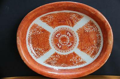 Antique  Chinese Porcelain Orange Fitzhugh Oval Platter Dishe Daoguang Period