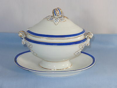 Early 1800s Old Paris French Porcelain Blue White & Gold Cov'd Sauce Tureen