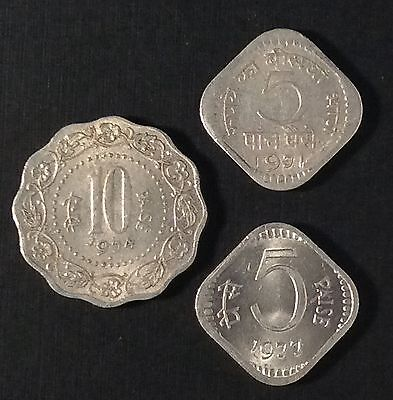 India 5 Paise 1977 & 1971 10 Paise 1974 3 Coin Lot