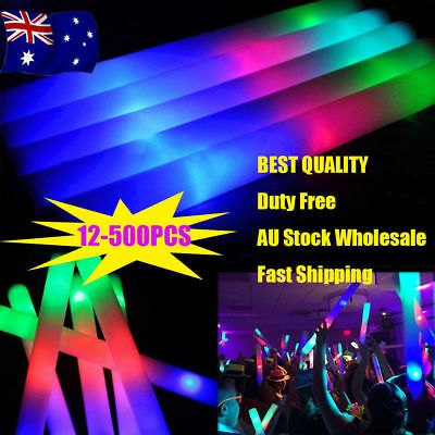 30/100/500 Glow Sticks Bulk Light Up Foam Stick LED Wand Rally Party Cheer Stick