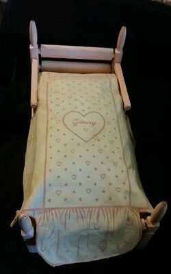 Vintage Ginny Wood Pink Poster Bed  With Sheets & Mattress